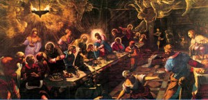 The Last Supper with angels by Tintoretto (1518-1594)